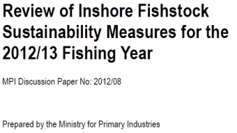 RFC Submission to Review of Inshore Fishstock Sustailability Measures for the 2012-13 Fishing Year