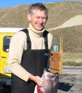 Ted with Hapuku on Armers Beach Kaikoura